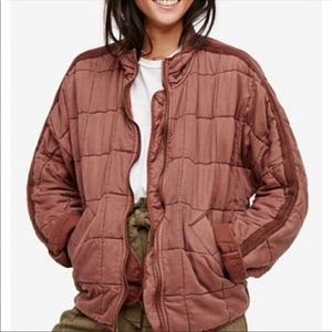 free people quilted dolman jacket terracotta